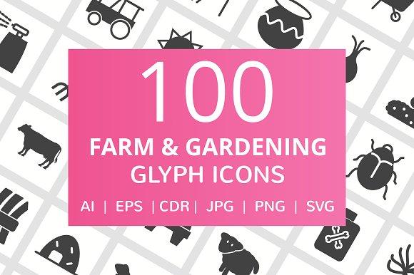 100 Farm & Gardening Glyph Icons in Graphics