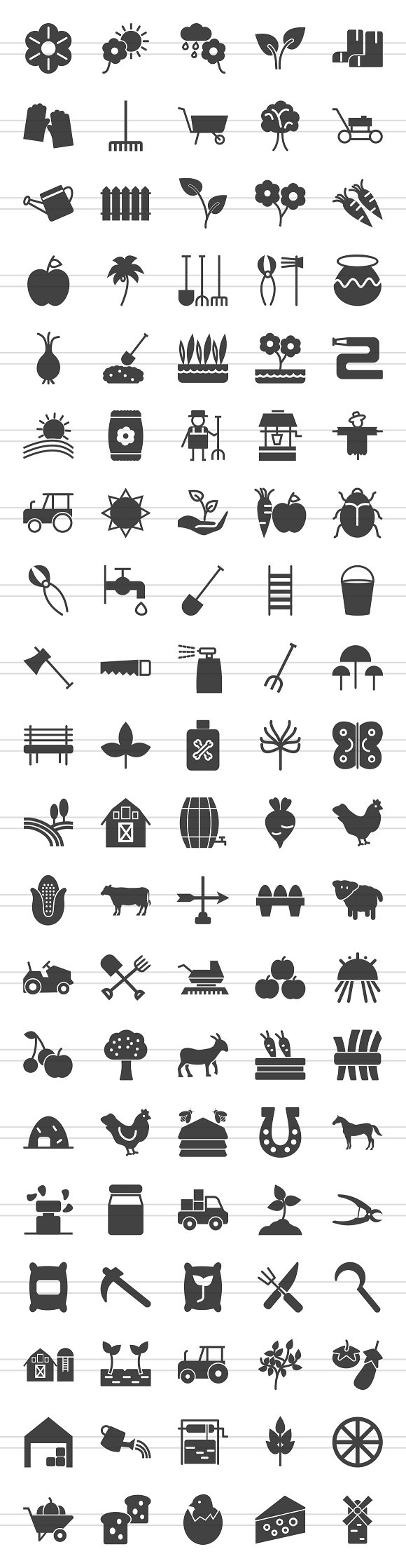 100 Farm & Gardening Glyph Icons in Graphics - product preview 1
