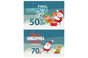 Final Christmas Sale Advertising, Santa Claus, Elf