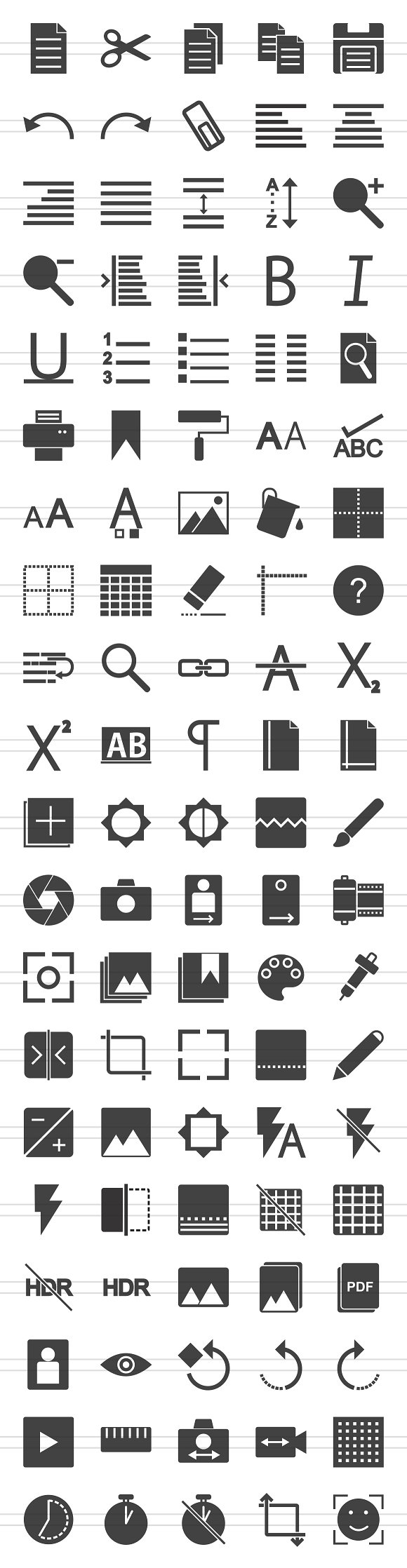 100 Photo & Text Editing Glyph Icons in Icons - product preview 1