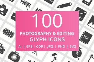 100 Photography & Picture Glyph Icon