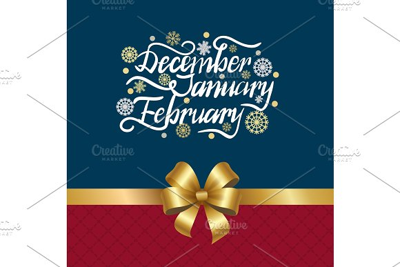 December January February Winter Month Inscription in Illustrations