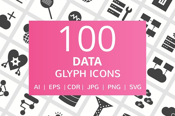 100 Data Glyph Icons in Icons