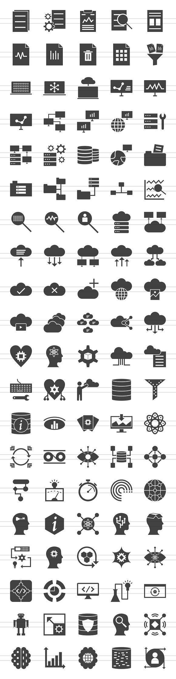 100 Data Glyph Icons in Icons - product preview 1