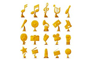 Trophy and Awards Collection Vector Illustration
