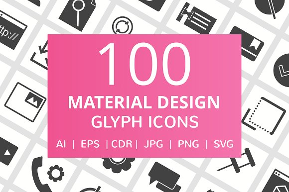 100 Material Design Glyph Icons in Graphics