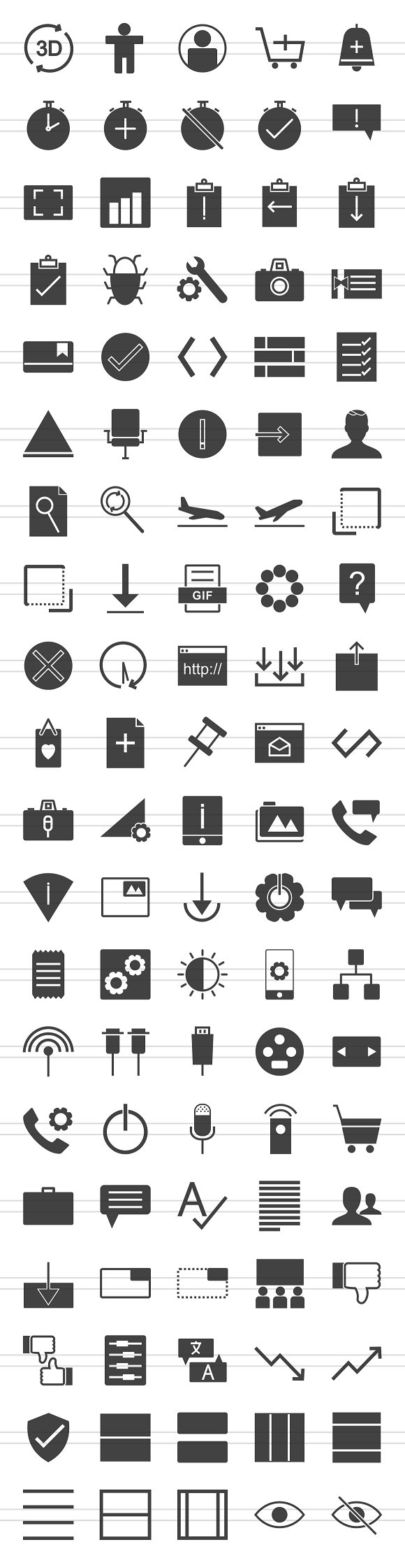 100 Material Design Glyph Icons in Graphics - product preview 1
