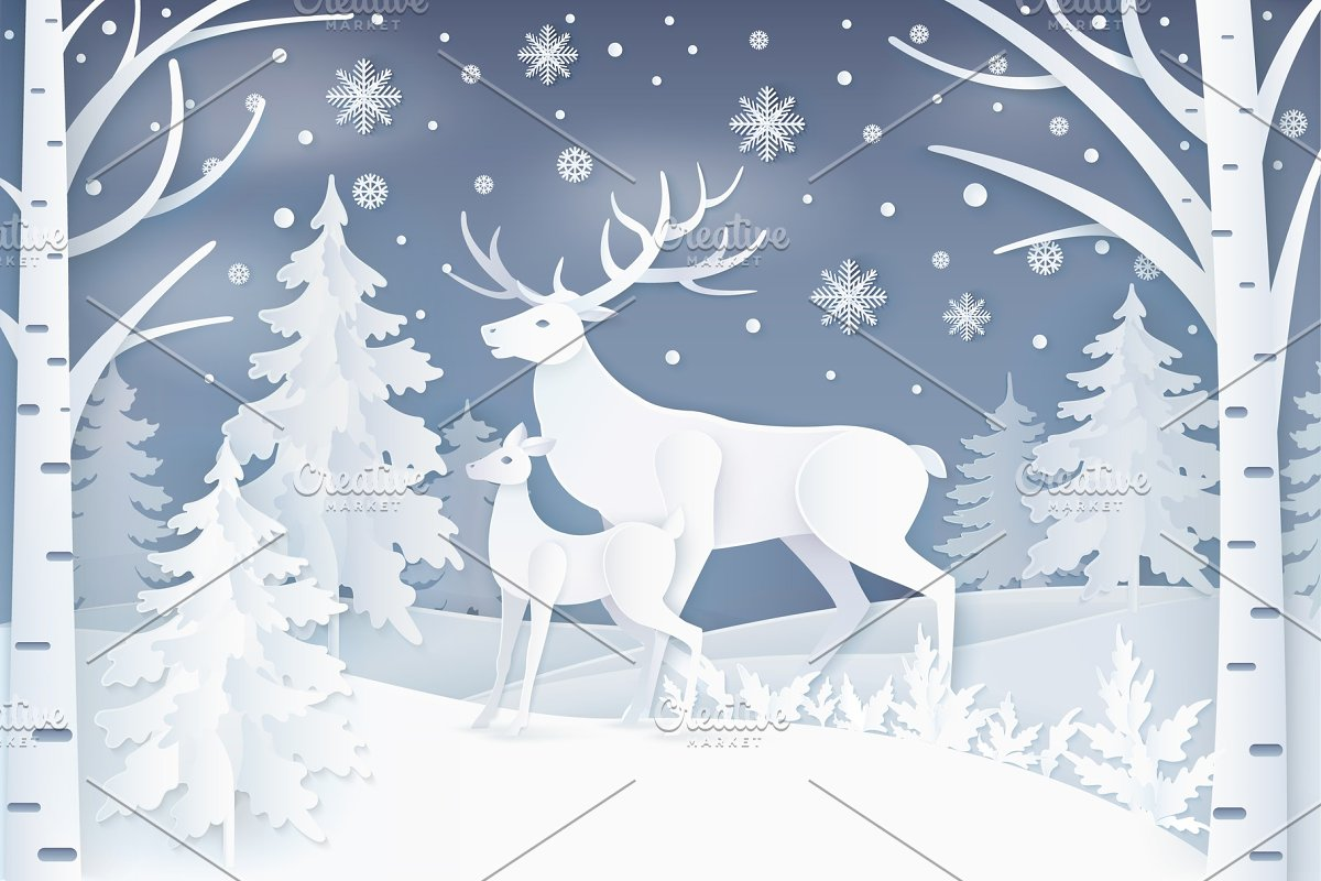 Deer Walking in Winter Forest Vector Illustration