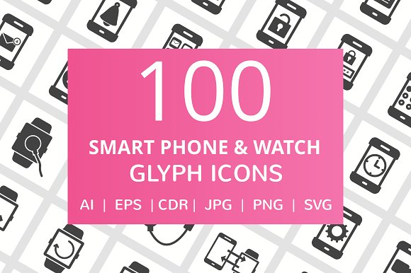 100 Smartphone & Watch Glyph Icons