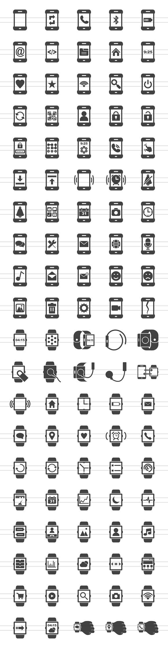 100 Smartphone & Watch Glyph Icons in Icons - product preview 1