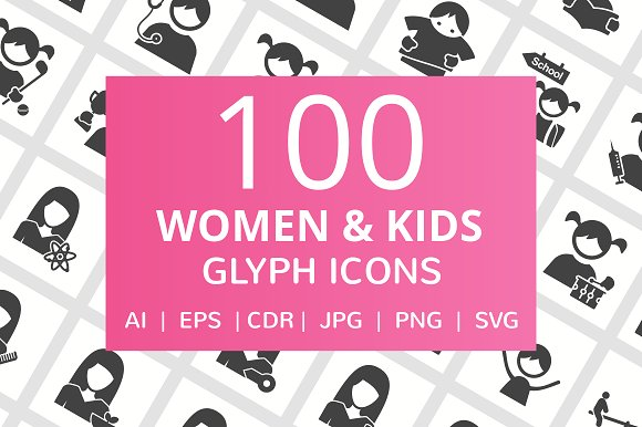 100 Women & Kids Glyph Icons
