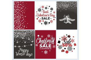 Winter Holidays Set of Posters Vector Illustration