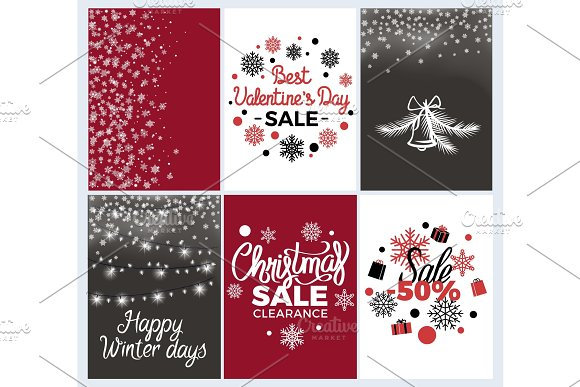 Winter Holidays Set of Posters Vector Illustration in Objects