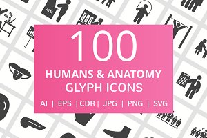 100 Humans & Anatomy Glyph Icons
