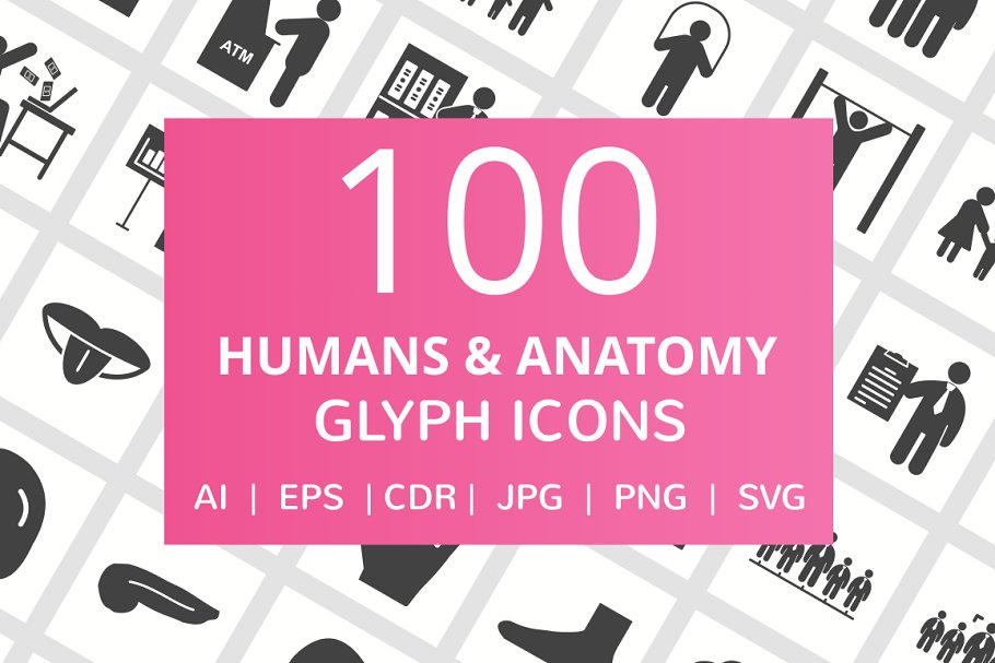 100 Humans & Anatomy Glyph Icons in Graphics