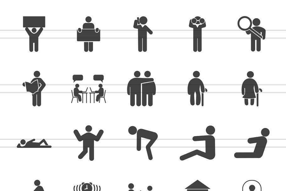 100 Humans & Anatomy Glyph Icons in Graphics - product preview 1