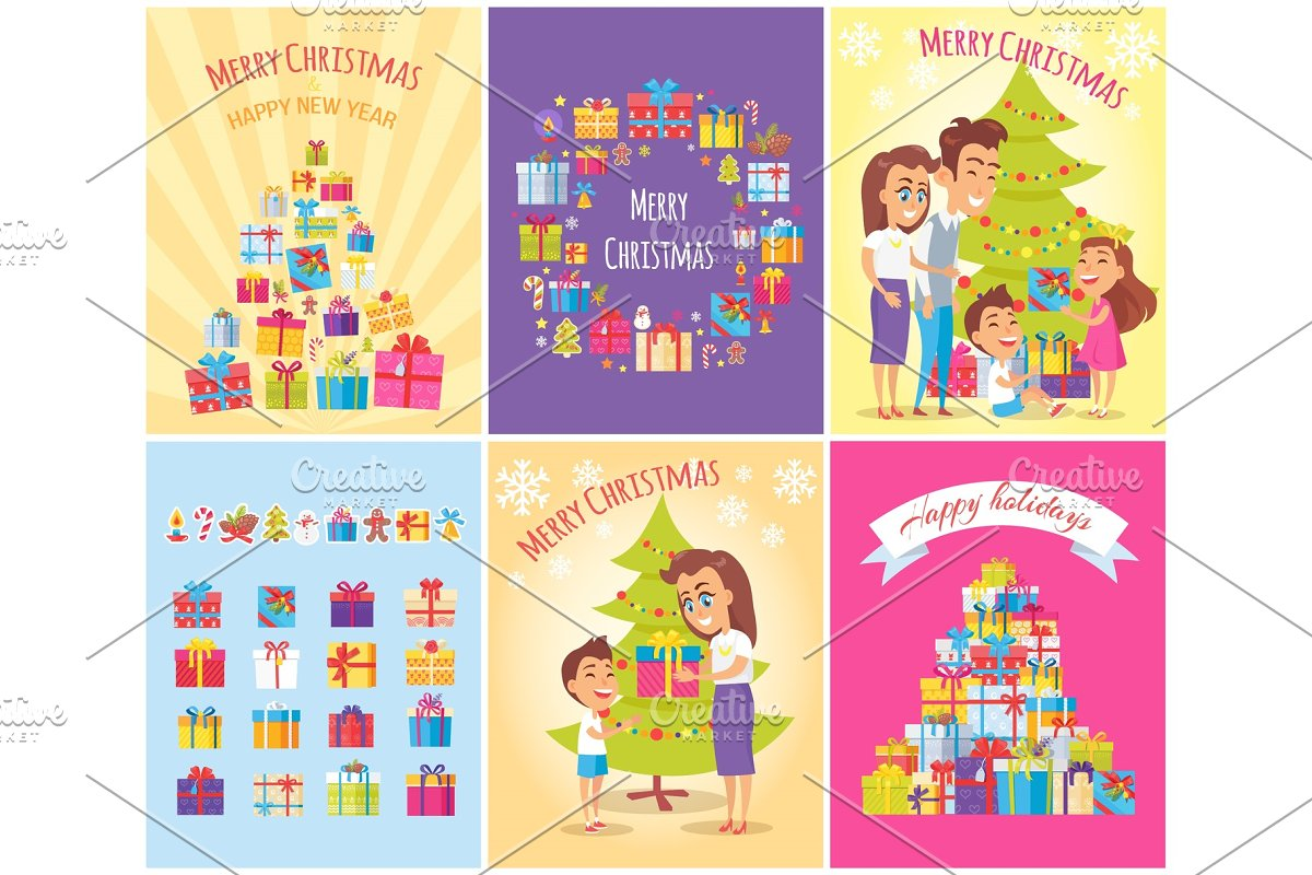Merry Christmas Collection, Vector Illustration in Objects