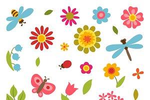 Set of flowers, beetles, butterflies