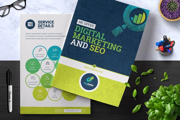 seo digital marketing brochure brochure templates creative market