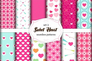 Cute set of scandinavian Sweet Heart Valentines Day seamless patterns with fabric textures