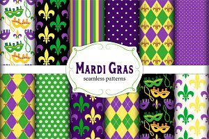 Set of 12 seamless Mardi Gras patter