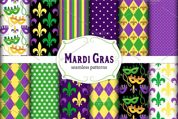 Set of 12 seamless Mardi Gras patter in Textures