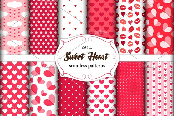 Cute set of scandinavian Sweet Heart Valentines Day seamless patterns with fabric textures in Illustrations