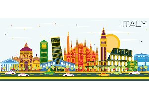 Italy City Skyline with Color