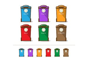 Colored recycle bin vector