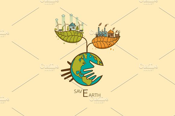 Save the Earth Vector illustration in Illustrations