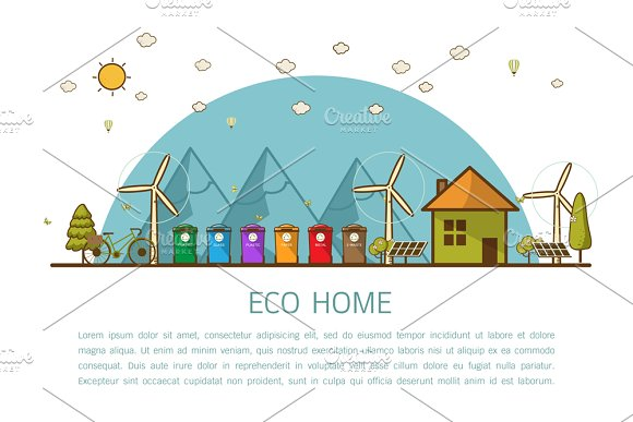 eco home with bins Vector illustrati in Illustrations