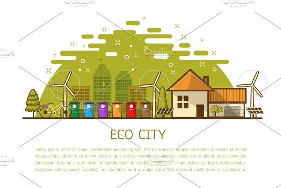 eco home with bins Vector  in Illustrations