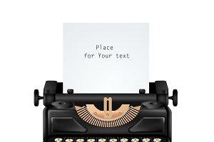 Vintage Typewriter Isolated Editable