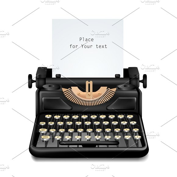 Vintage Typewriter Isolated Editable
