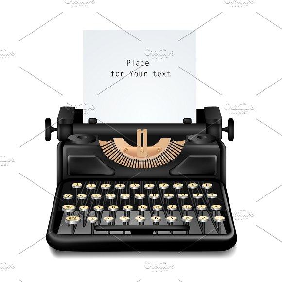 Vintage Typewriter Isolated Editable in Illustrations