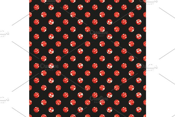 Cute seamless pattern of red glitter polka dots