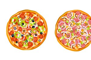 Realistic Isolated Pizza Set