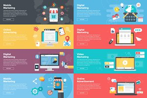 9 Marketing Banners In Flat Design