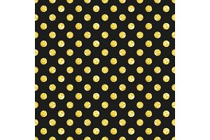 Cute seamless pattern of golden glitter polka dots