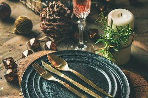 Christmas or New Years eve holiday table setting