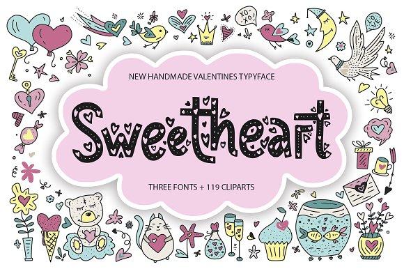 3 Sweetheart fonts + 119 clip arts.