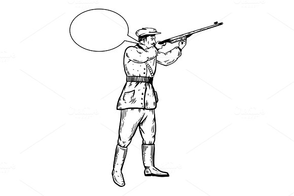 Hunter with rifle engraving vector illustration in Illustrations