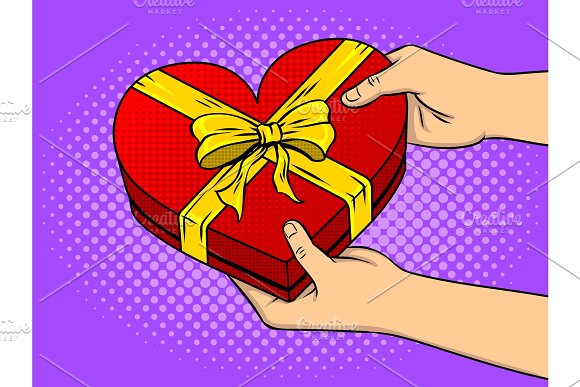 Red heart shaped gift box pop art vector