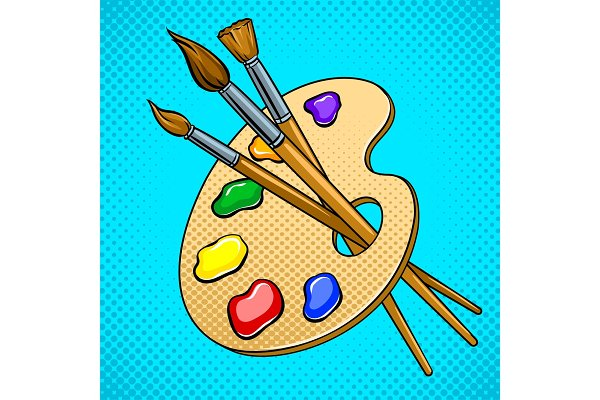 Palette with paints and brushes pop…
