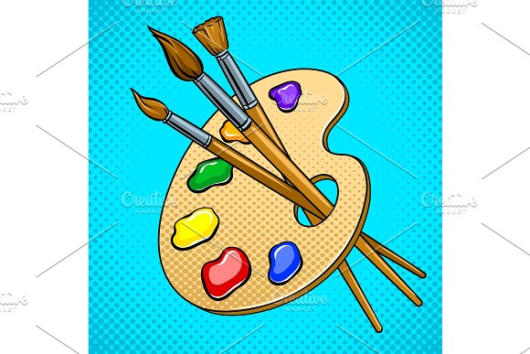 Palette with paints and brushes pop art vector in Illustrations