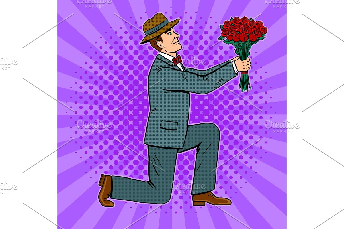 Man gives flowers bouquet pop art vector in Illustrations