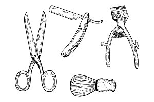 Barber tools engraving vector illustration