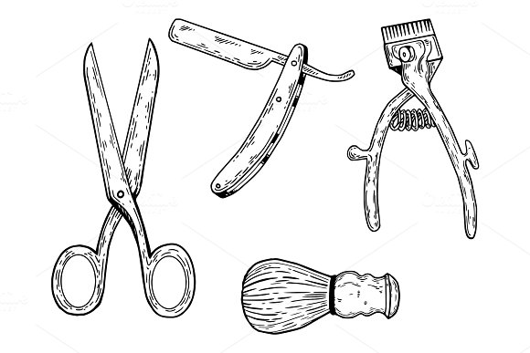 Barber tools engraving vector illustration in Illustrations