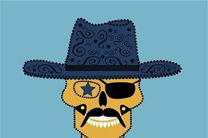 Sheriff skull vector, cool ornament