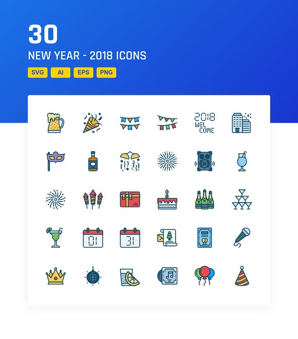 Happy New Year - 2018 in Icons